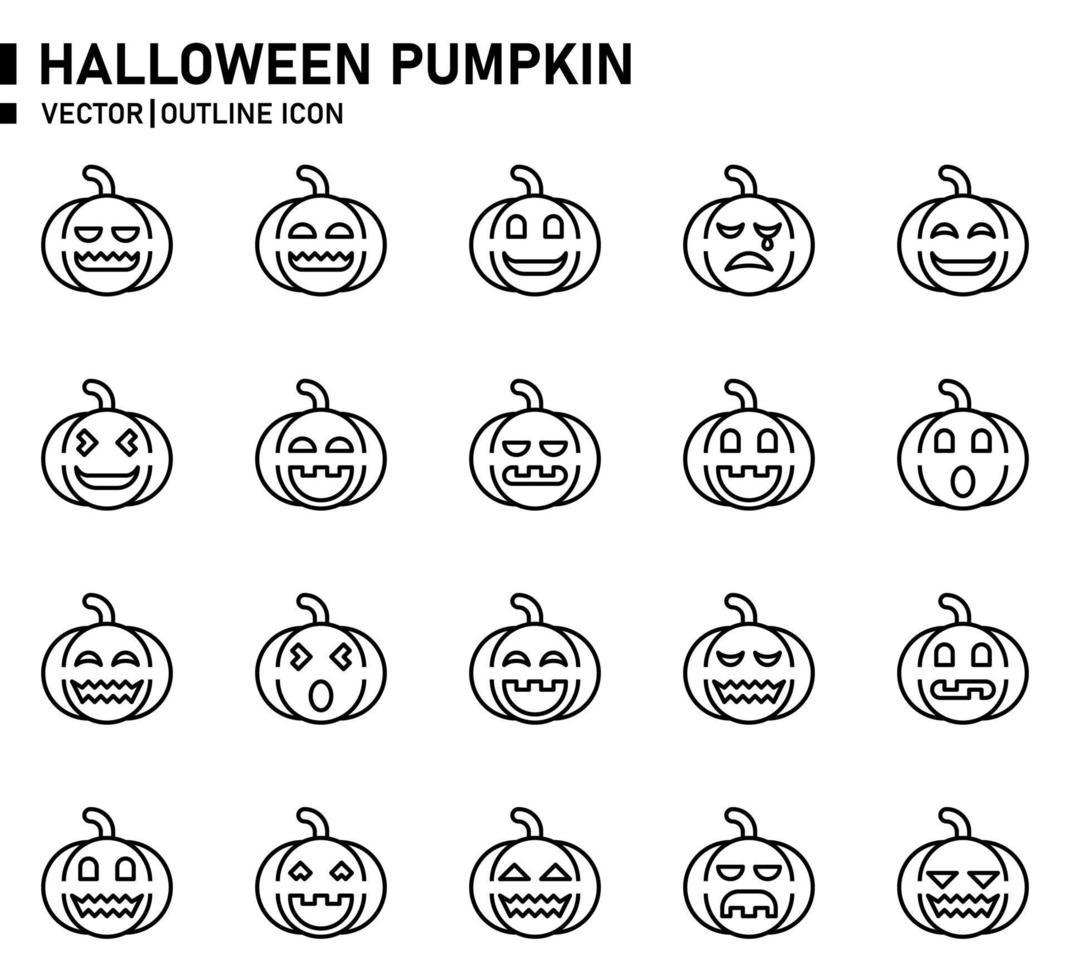 ícone de contorno de abóbora emoji vetor