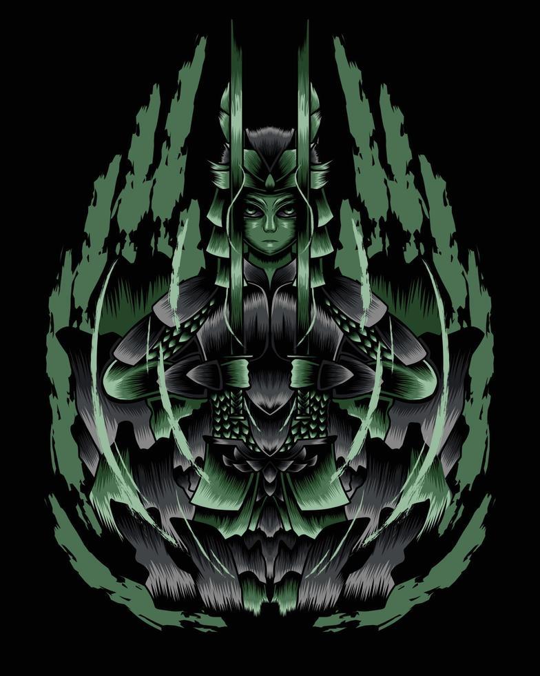ilustração da arte da raiva samurai morto-vivo vector.eps vetor
