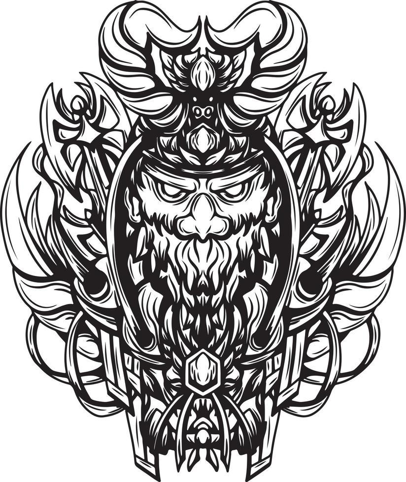 ilustração em preto e branco da arte do vetor viking morto-vivo