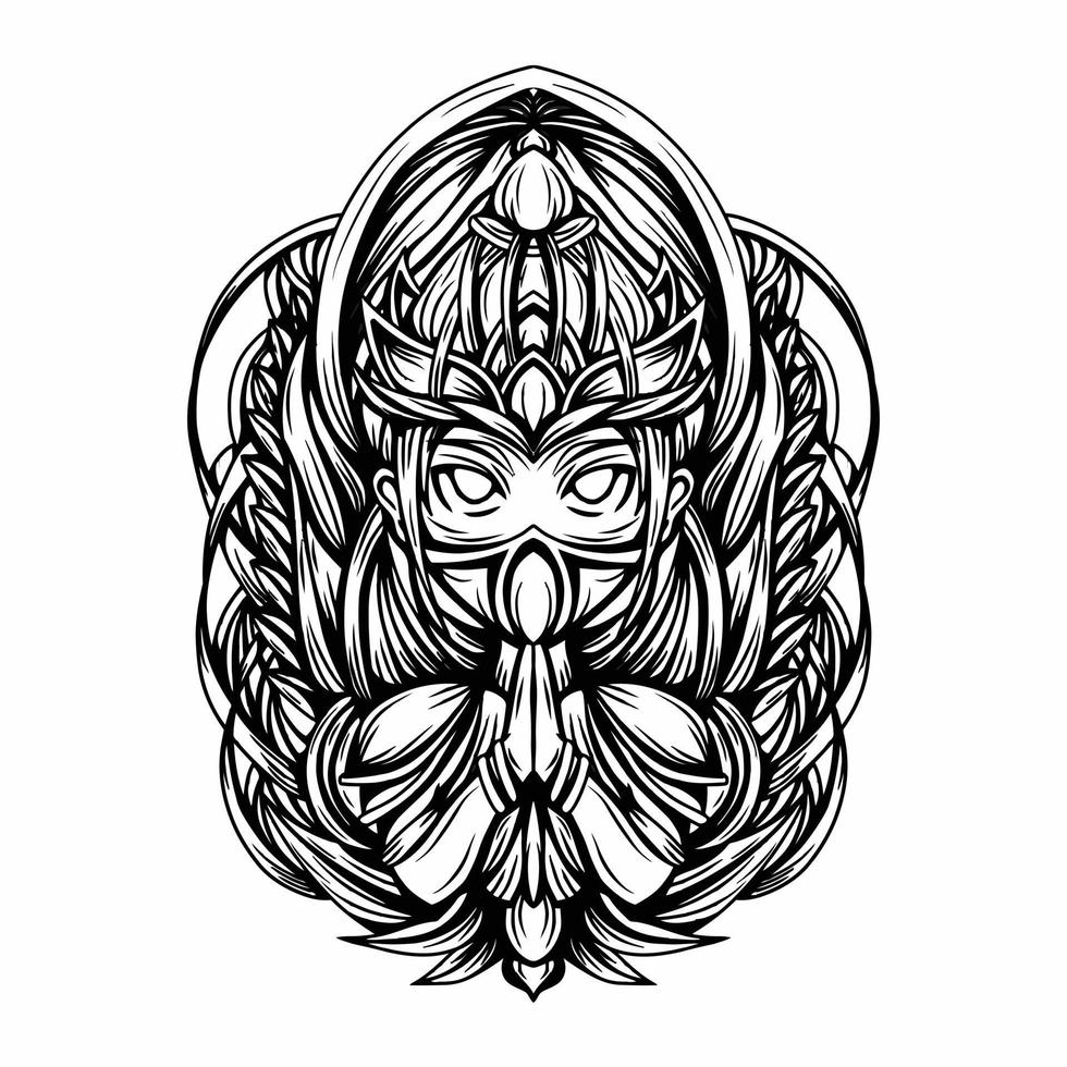 ilustração em preto e branco da deusa do vetor da natureza