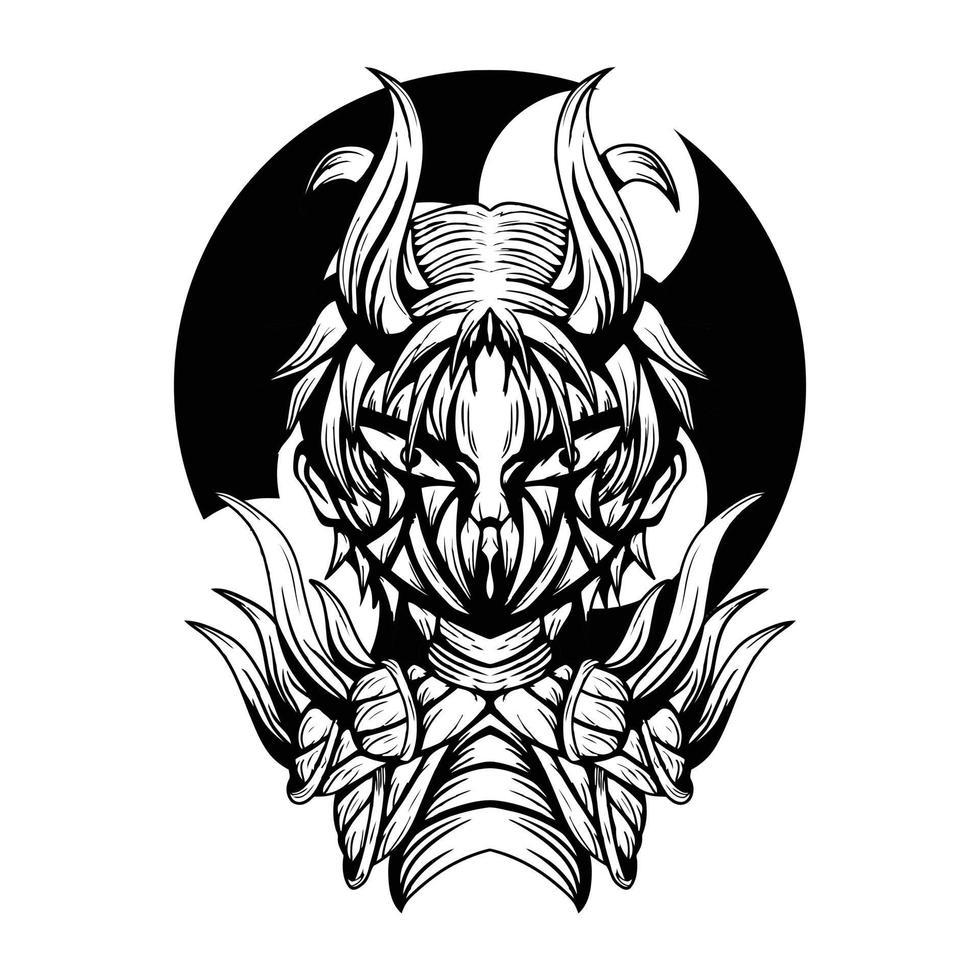 ilustração de arte em preto e branco do vetor de carne do diabo