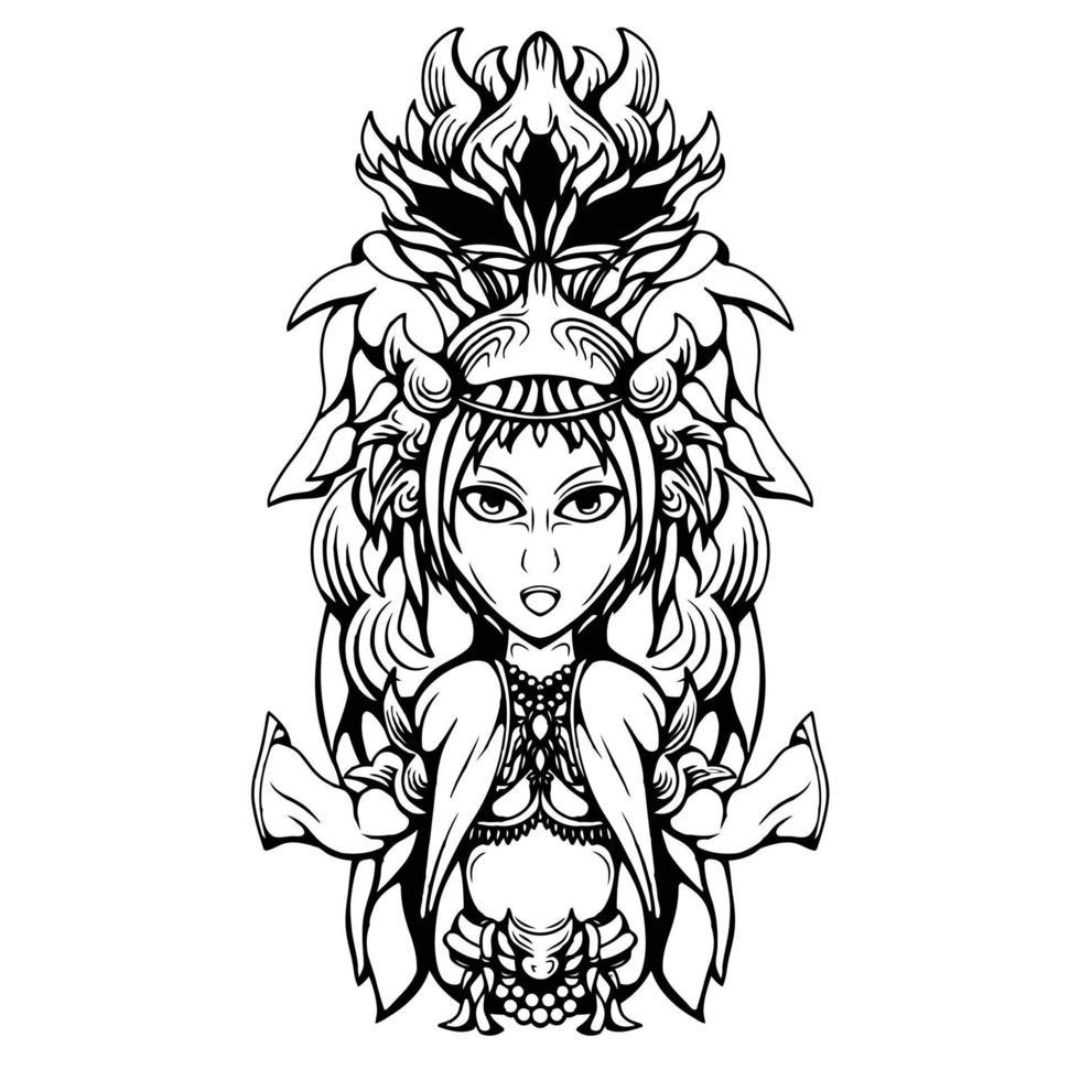 ilustração de arte em preto e branco do vetor de linda garota xamã