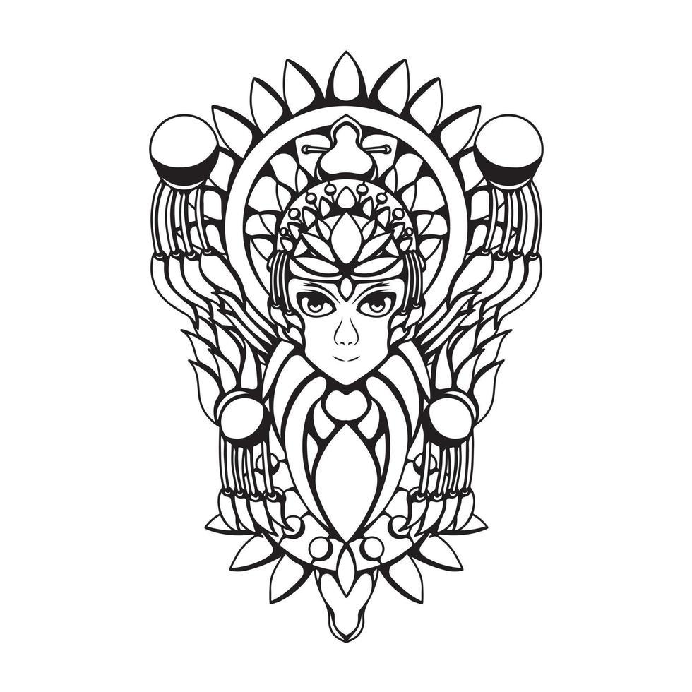 ilustração em preto e branco do deus das mulheres com ilustração vetorial de gravura vetor