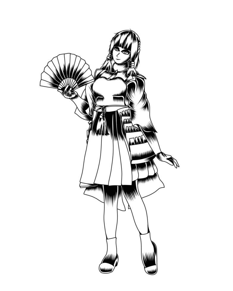 ilustração de arte em preto e branco de fan girl vector.eps vetor