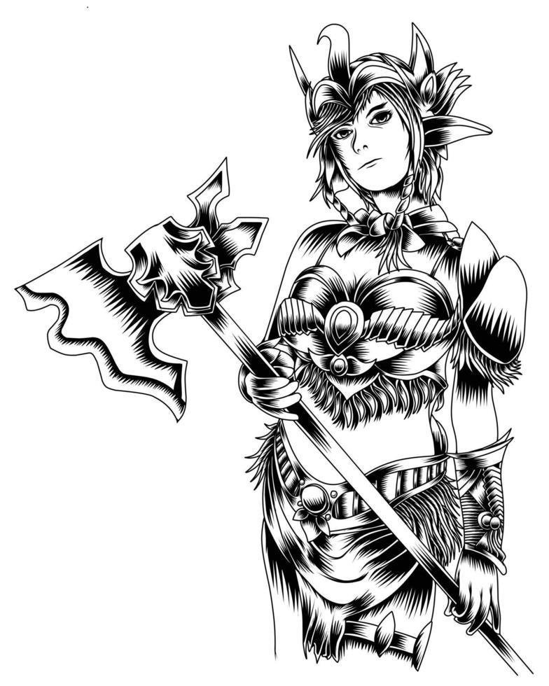 ilustração de arte em preto e branco de mulher com o terrível machado vector.eps vetor