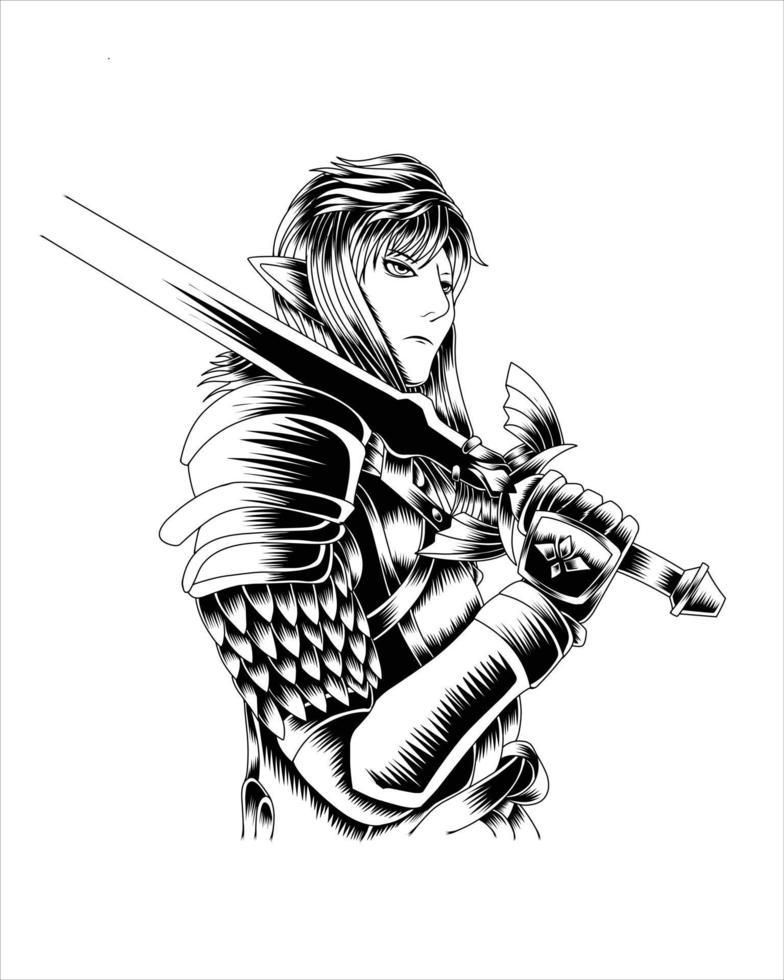 ilustração da obra de arte poderoso cavaleiro com espada dourada vetor silhueta preto e branco