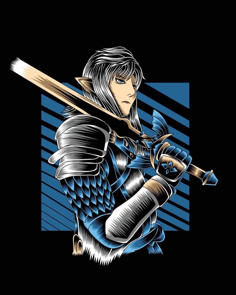 ilustração da obra de arte poderoso cavaleiro com espada dourada vector.eps vetor