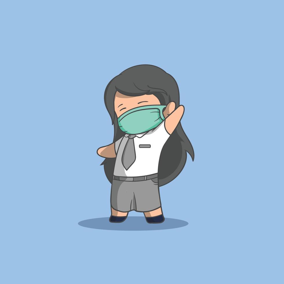 garota feliz usando uma máscara pronta para voltar para a escola vetor