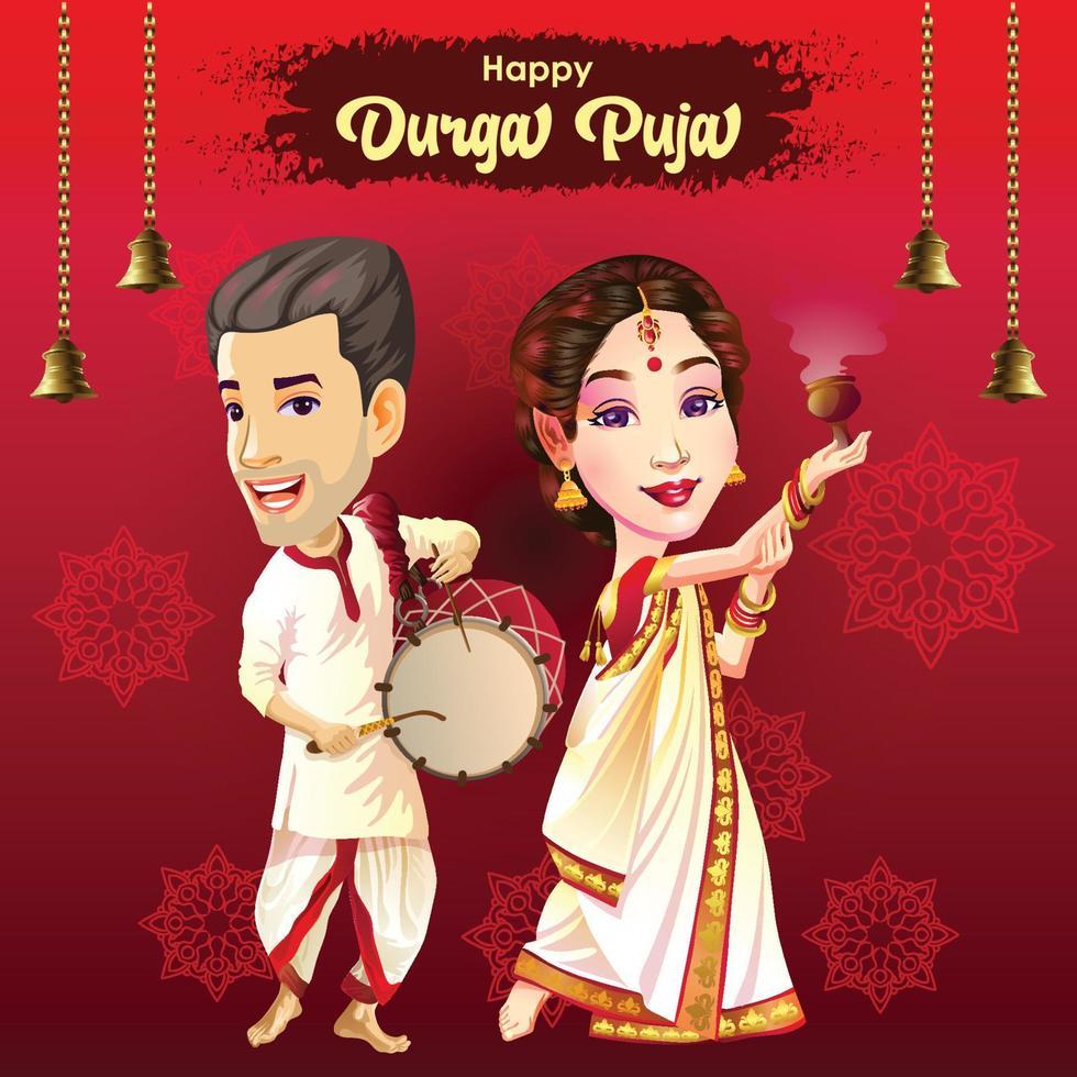 Cartão de cumprimentos do Durga Puja Navratri Festival com dançarina e baterista vetor