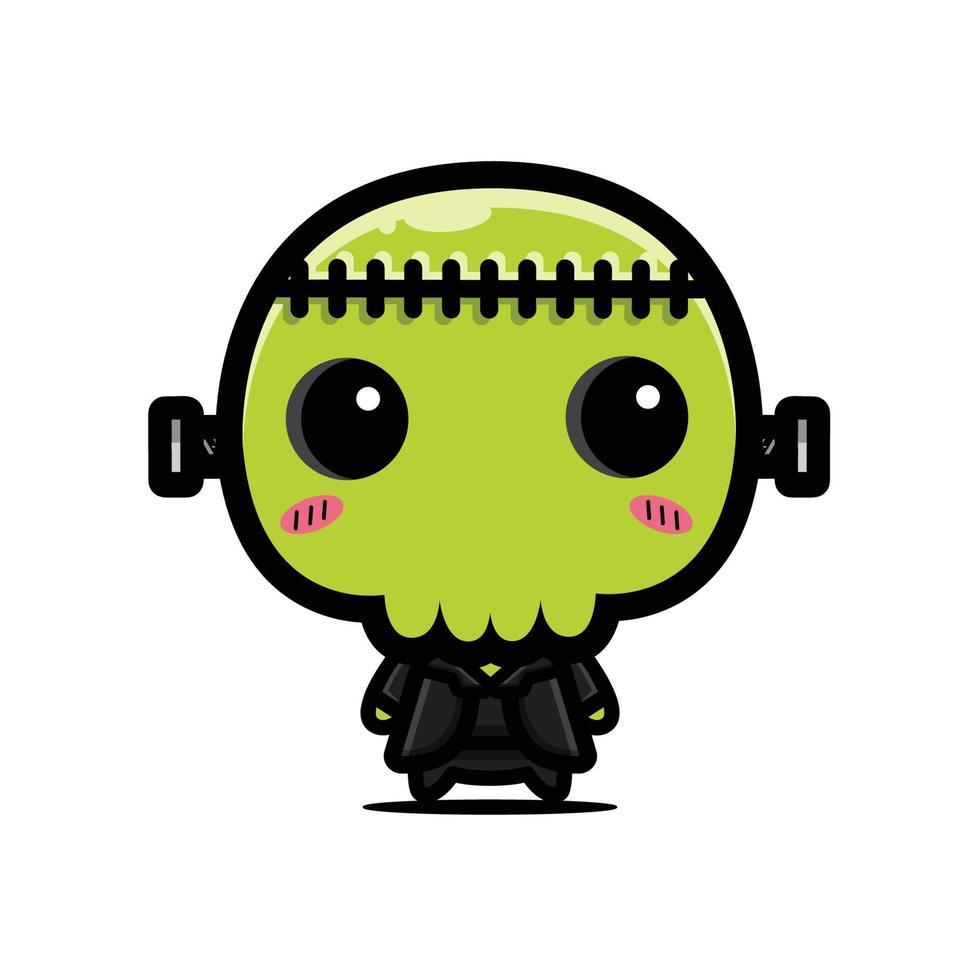 personagem de crânio de monstro verde fofo vetor