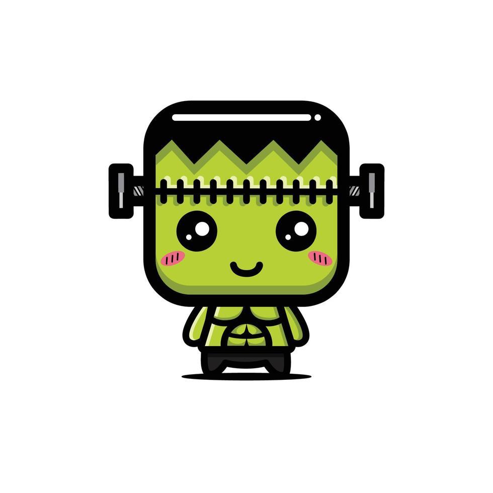 design de personagem monstro verde fofo vetor