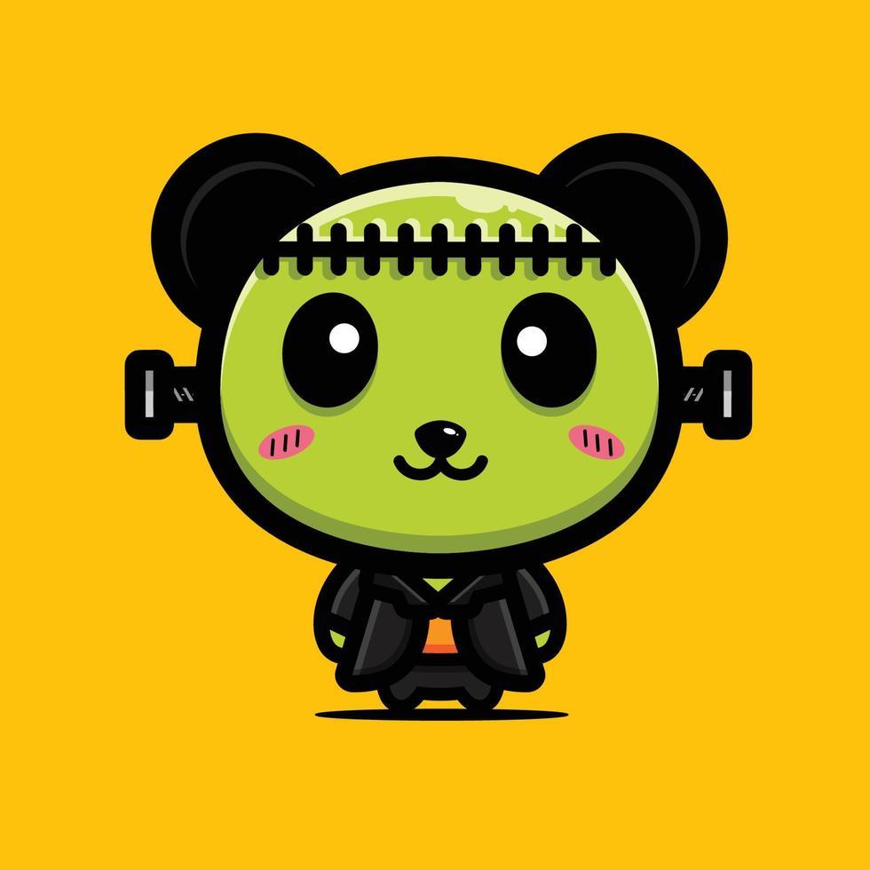 design de personagem do monstro panda fofo vetor