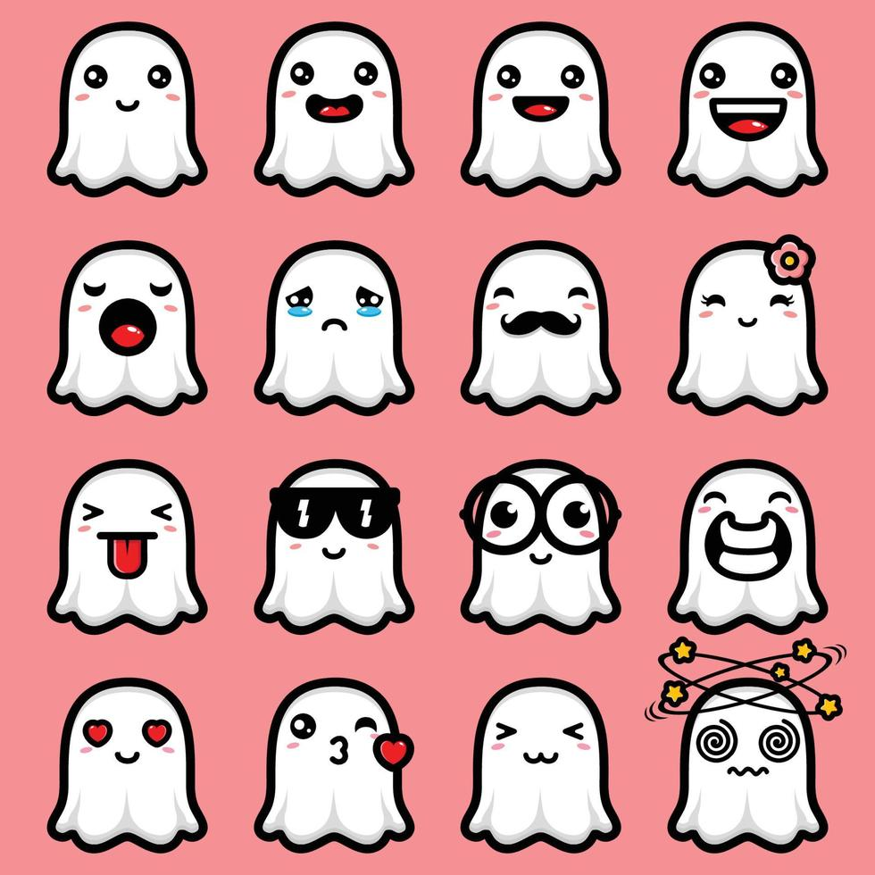 desenho de pacote de emoji fantasma fofo vetor