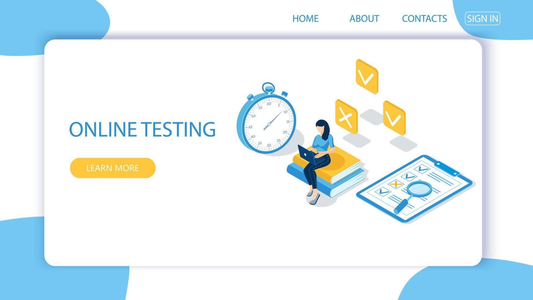 conceito de exame online, formulário de questionário, educação online. vetor-5. vetor