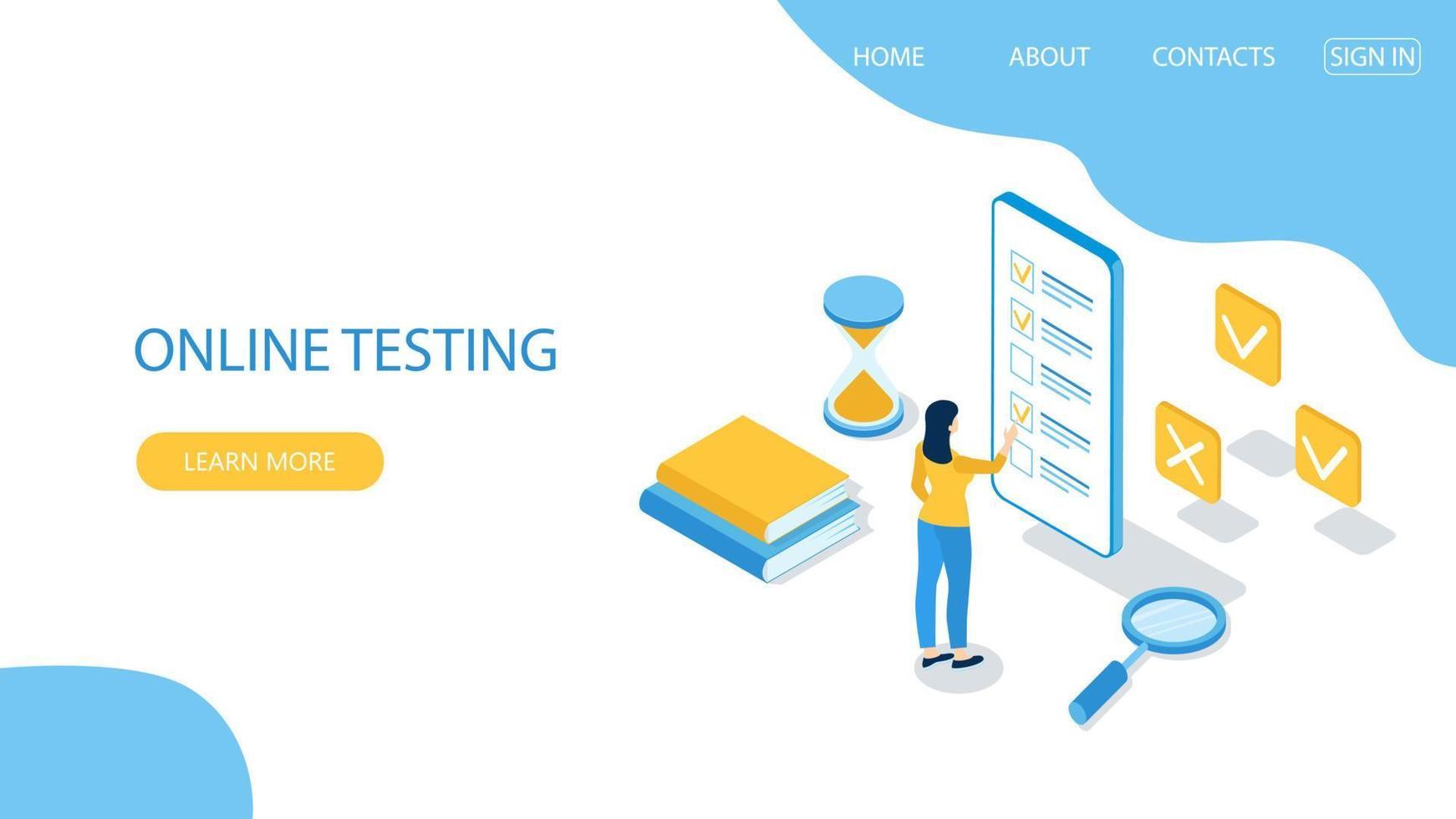 conceito de exame online, formulário de questionário, educação online. vetor-18. vetor