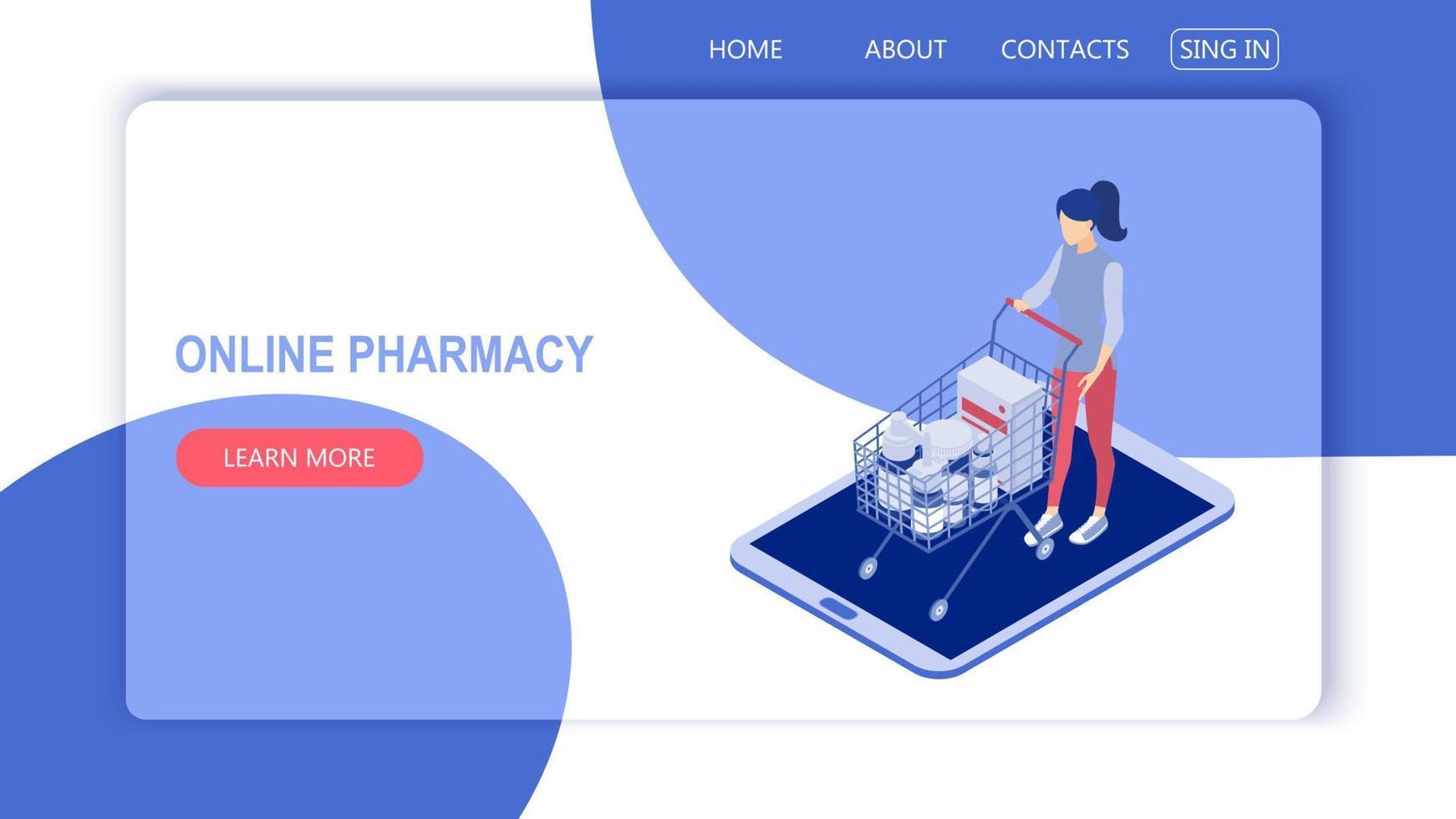 conceito de uma ilustração vetorial isométrica de farmácia on-line. vetor