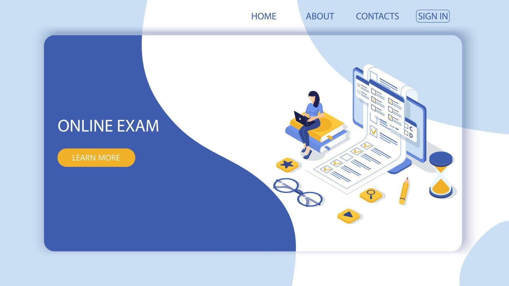 conceito de exame online, formulário de questionário, educação online. vetor-12. vetor