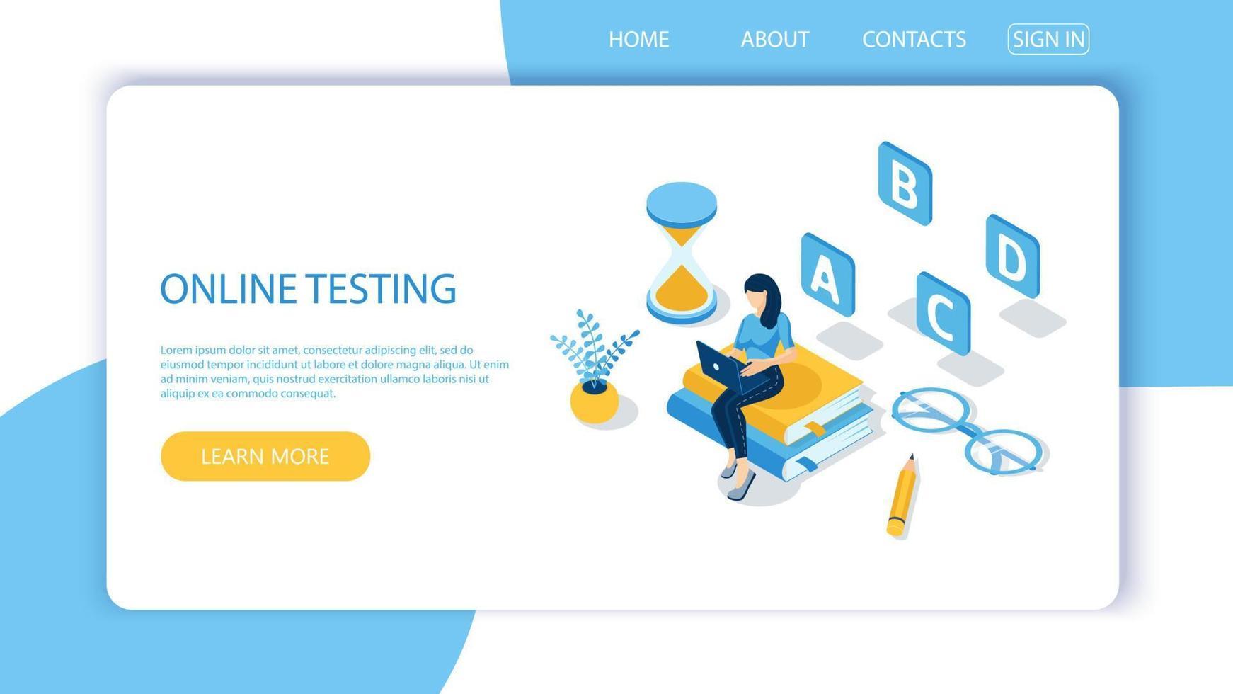 conceito de exame online, formulário de questionário, educação online. vetor-10. vetor