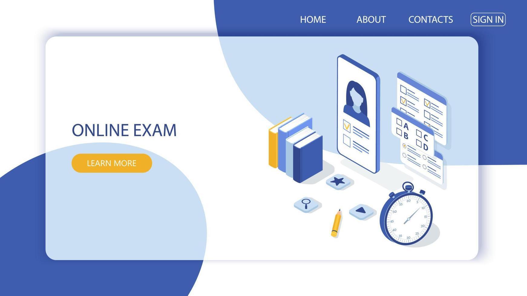 conceito de exame online, formulário de questionário, educação online. vetor-9. vetor