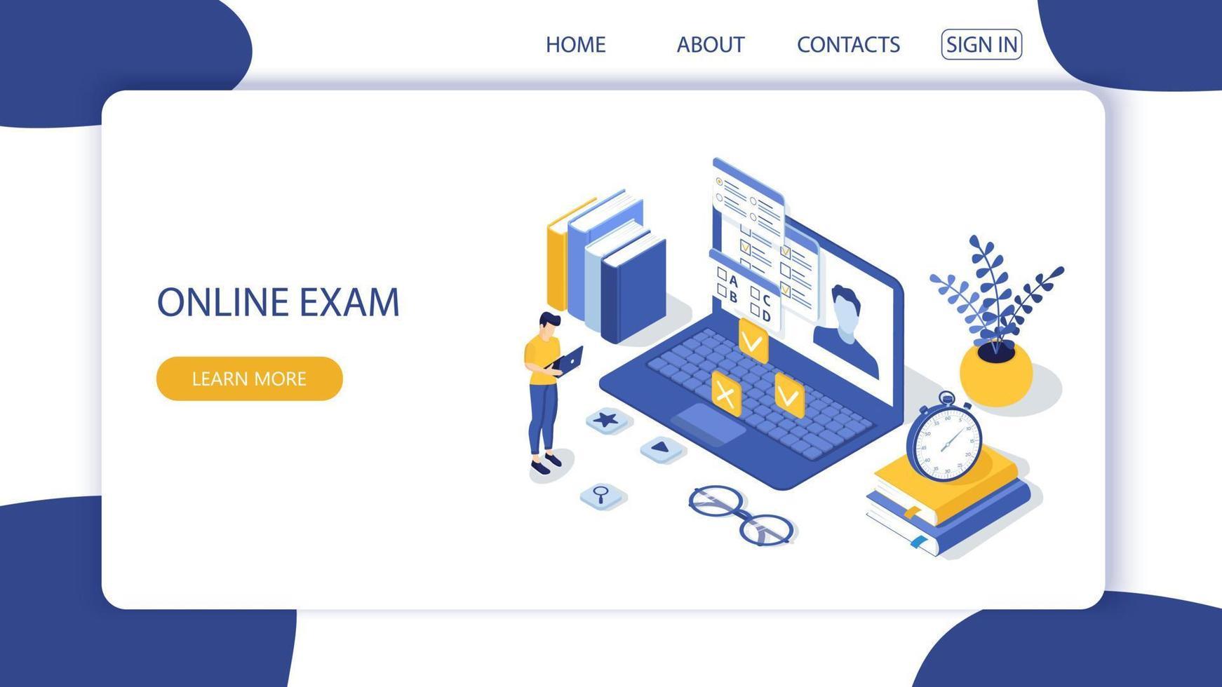 conceito de exame online, formulário de questionário, educação online. vetor-2. vetor