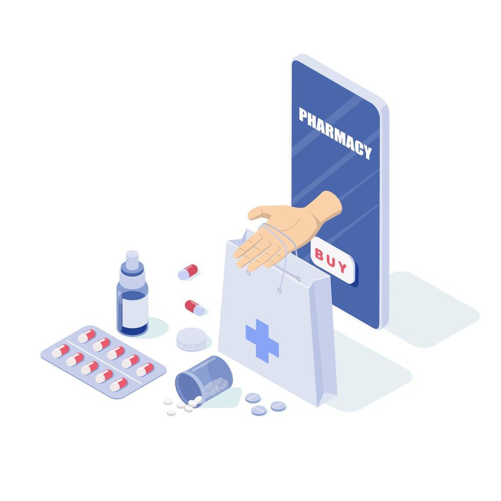 telefone e pílulas online, cápsulas blisters, garrafas de vidro, tubos de plástico. vetor