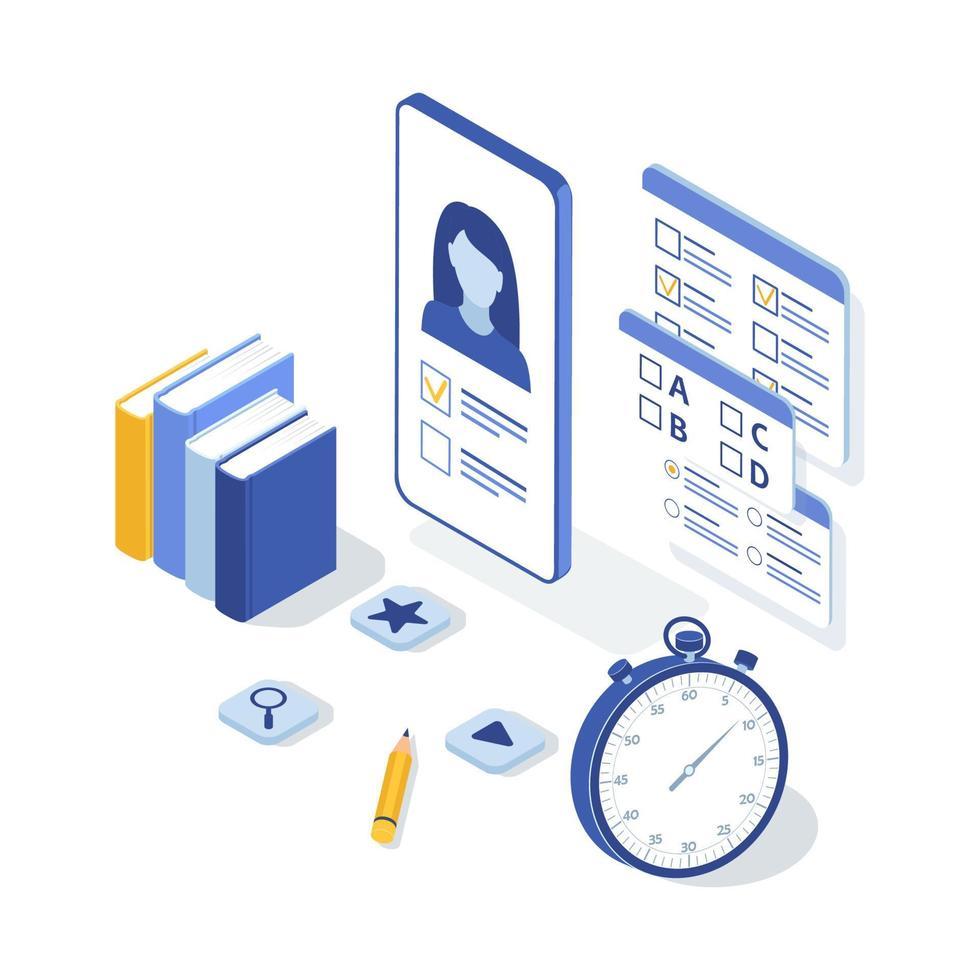 conceito de exame online, teste online. ilustração vetorial isométrica. vetor