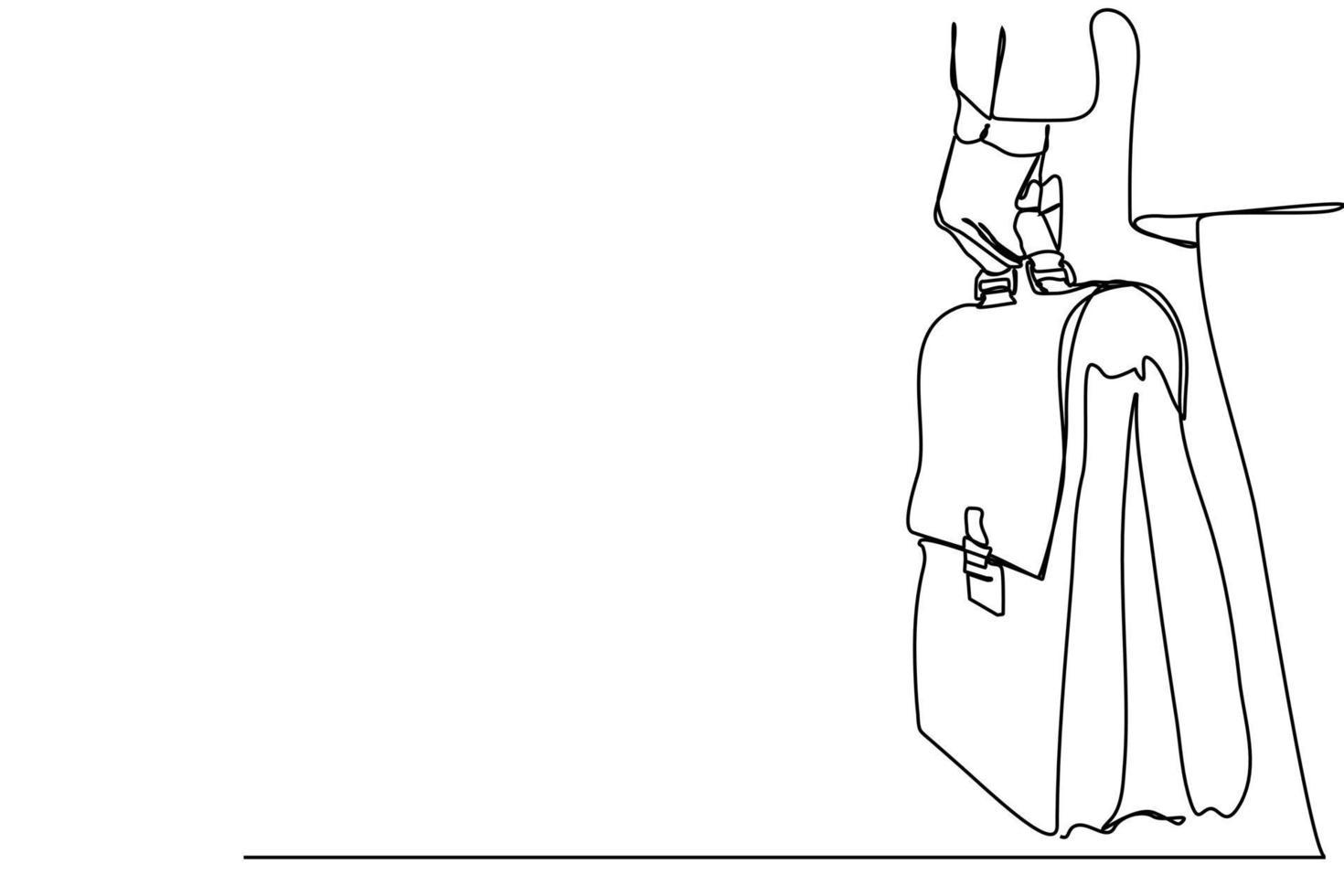 linha contínua vista traseira de um empresário segurando uma sacola na mão vetor