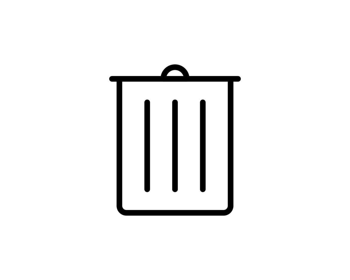 ícone de lixo de contorno isolado no fundo branco para site vetor