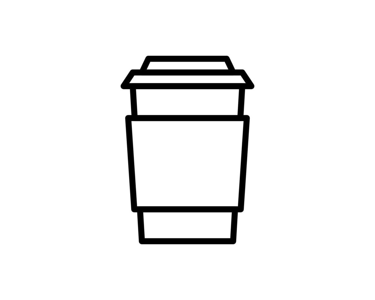 Café para viagem com tampa e porta-copos. descartável vetor