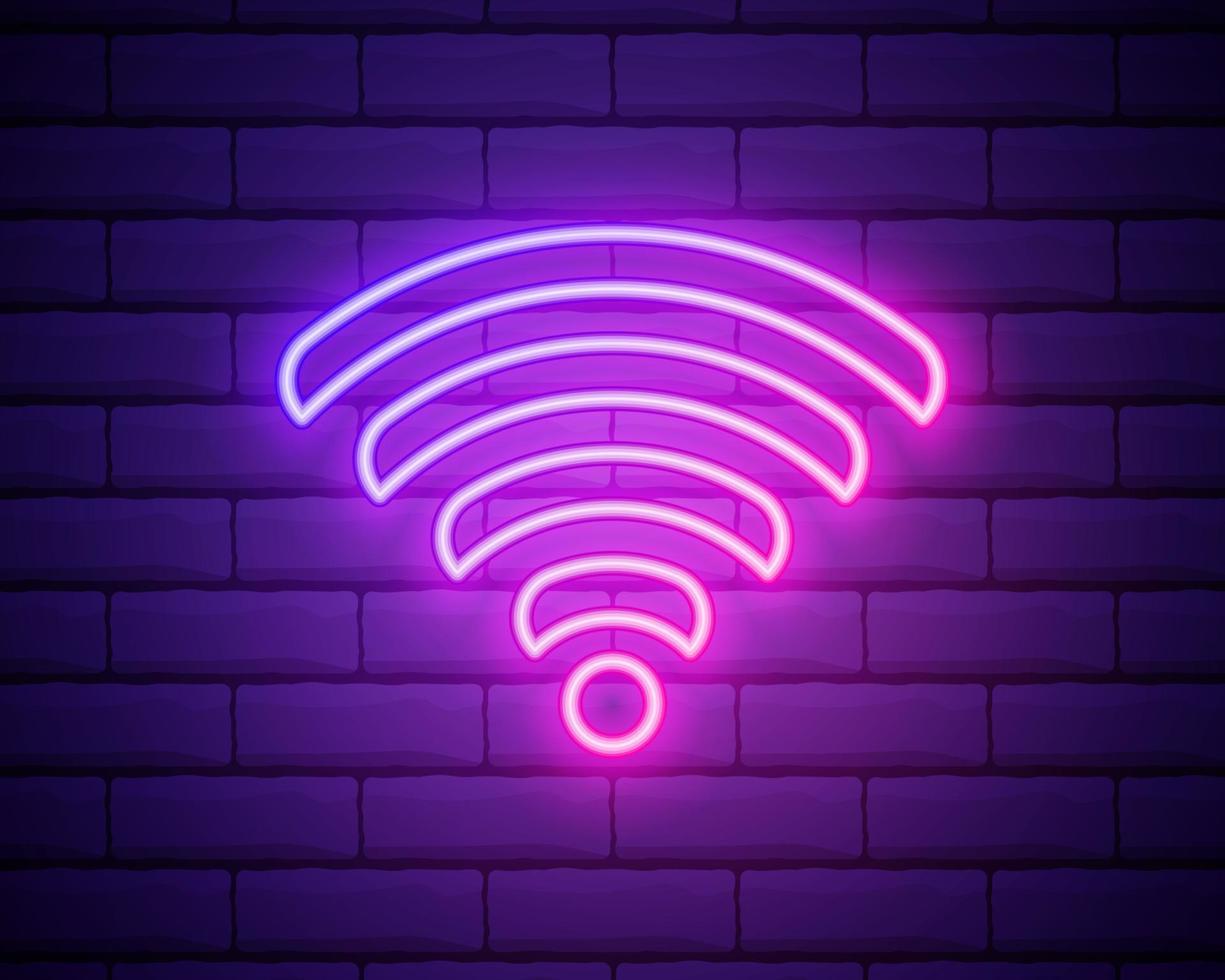 sinal de néon de wi-fi. Propaganda brilhante de noite de vetor. vetor