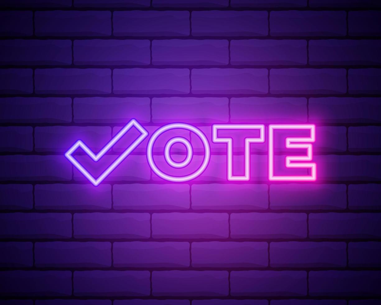 símbolos de voto. ícone de marca de seleção. etiqueta de voto. ícone de néon vetor