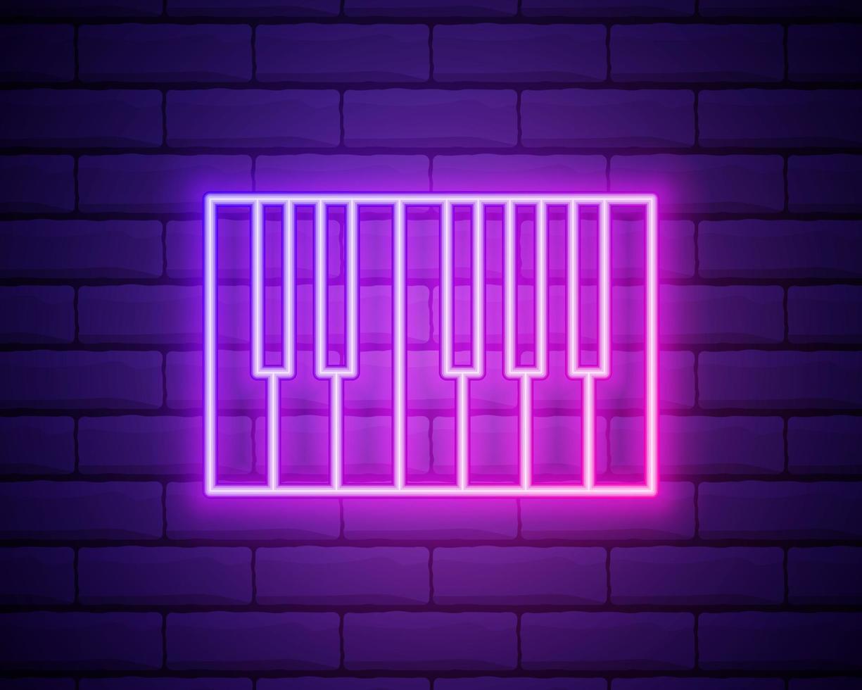 Ícone de sintetizador de música de linha de néon brilhante isolado na parede de tijolos vetor