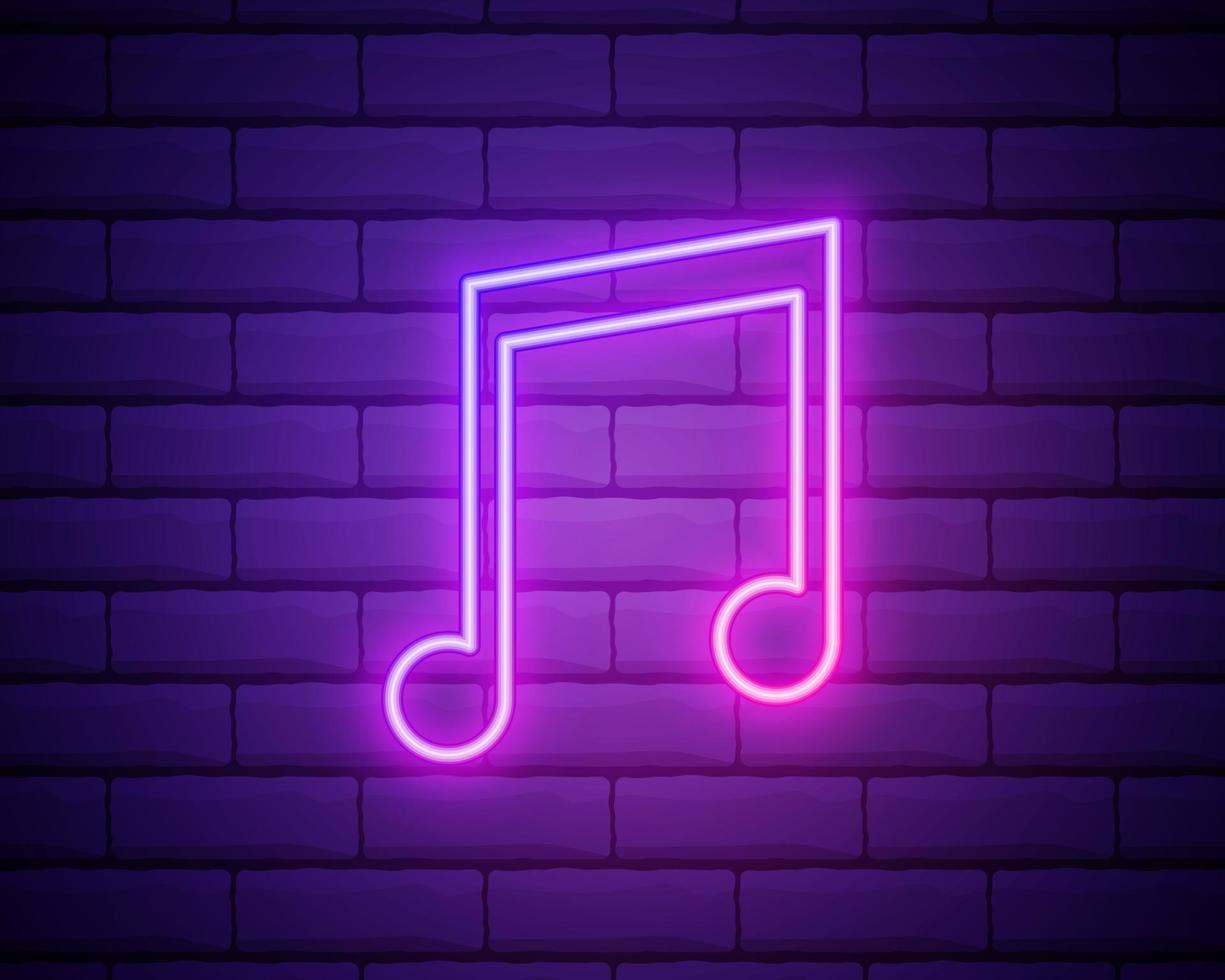nota de música neon na parede de tijolos, ilustração em vetor eps 10