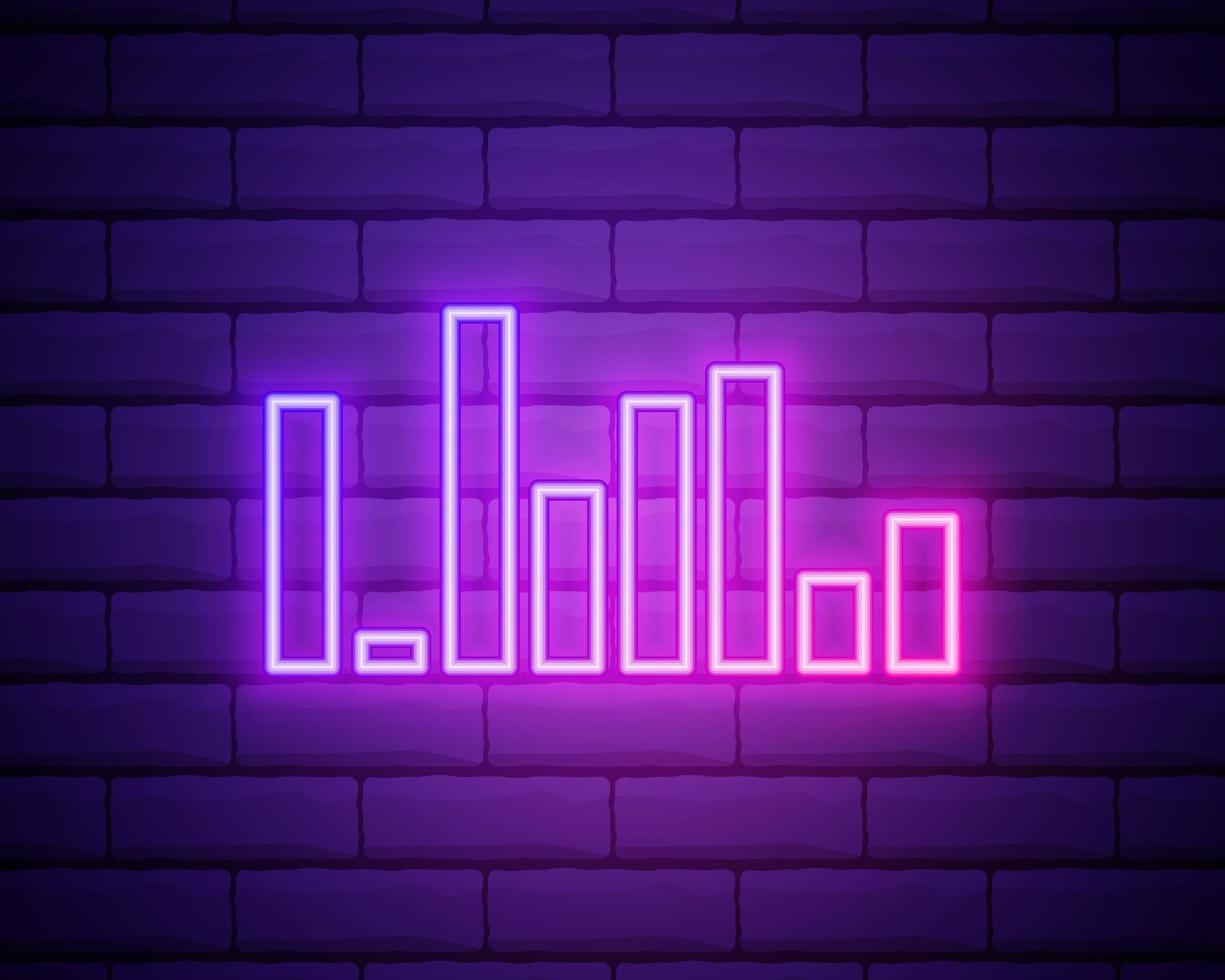 onda sonora, ícone simples. estilo neon rosa na parede de tijolos vetor