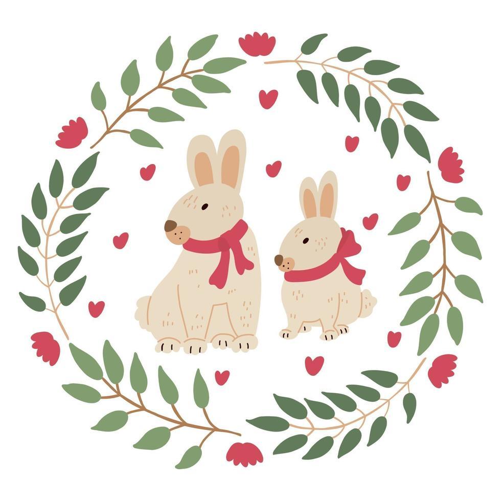 guirlanda de páscoa com lindos coelhinhos ou coelhos vetor