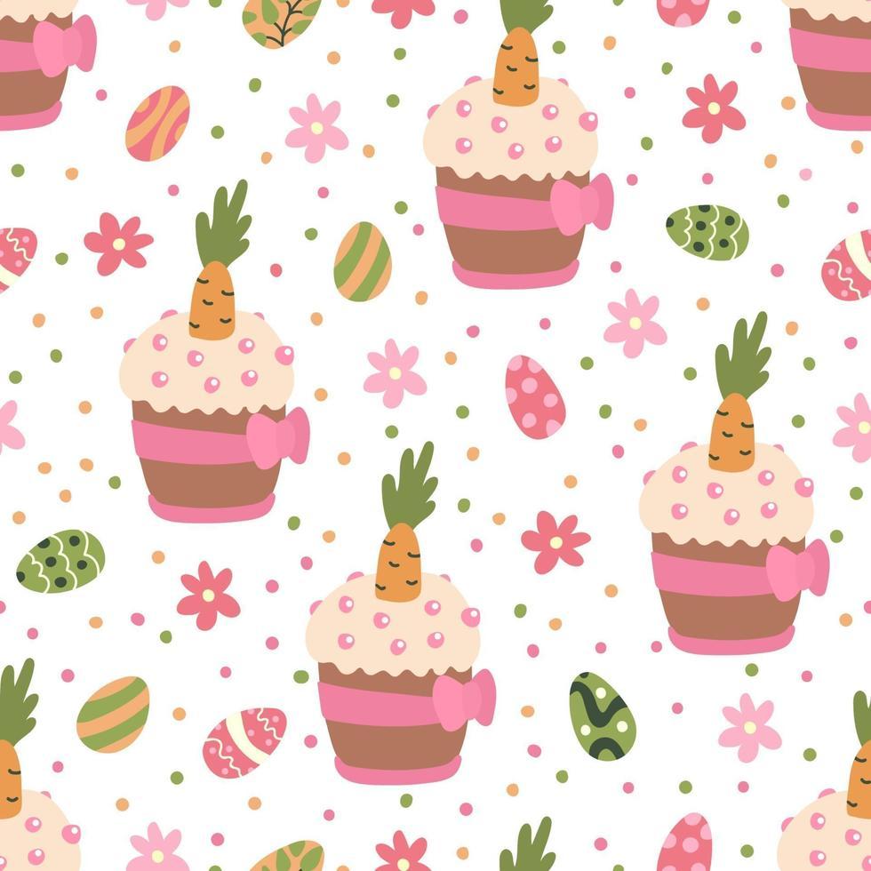 padrão sem emenda com ovos coloridos, flores margaridas e bolos de páscoa vetor