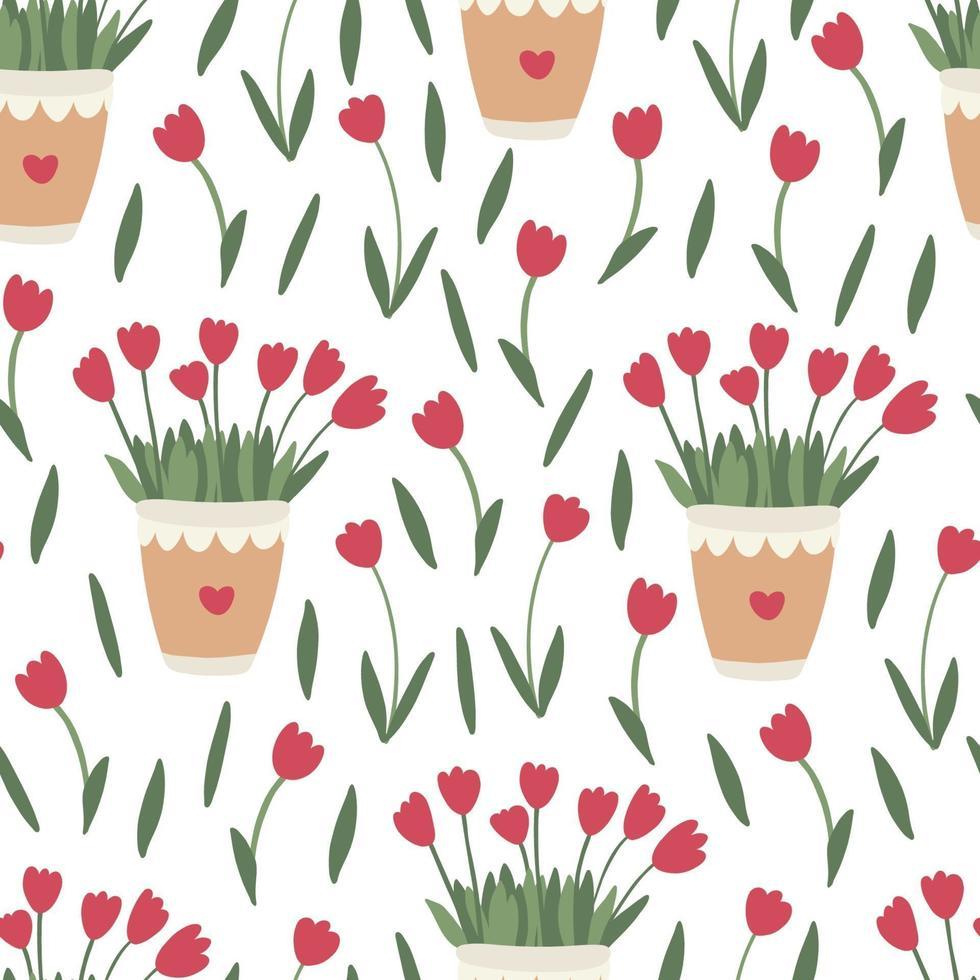 Primavera padrão floral sem costura com flores de tulipa vermelha em vasos vetor