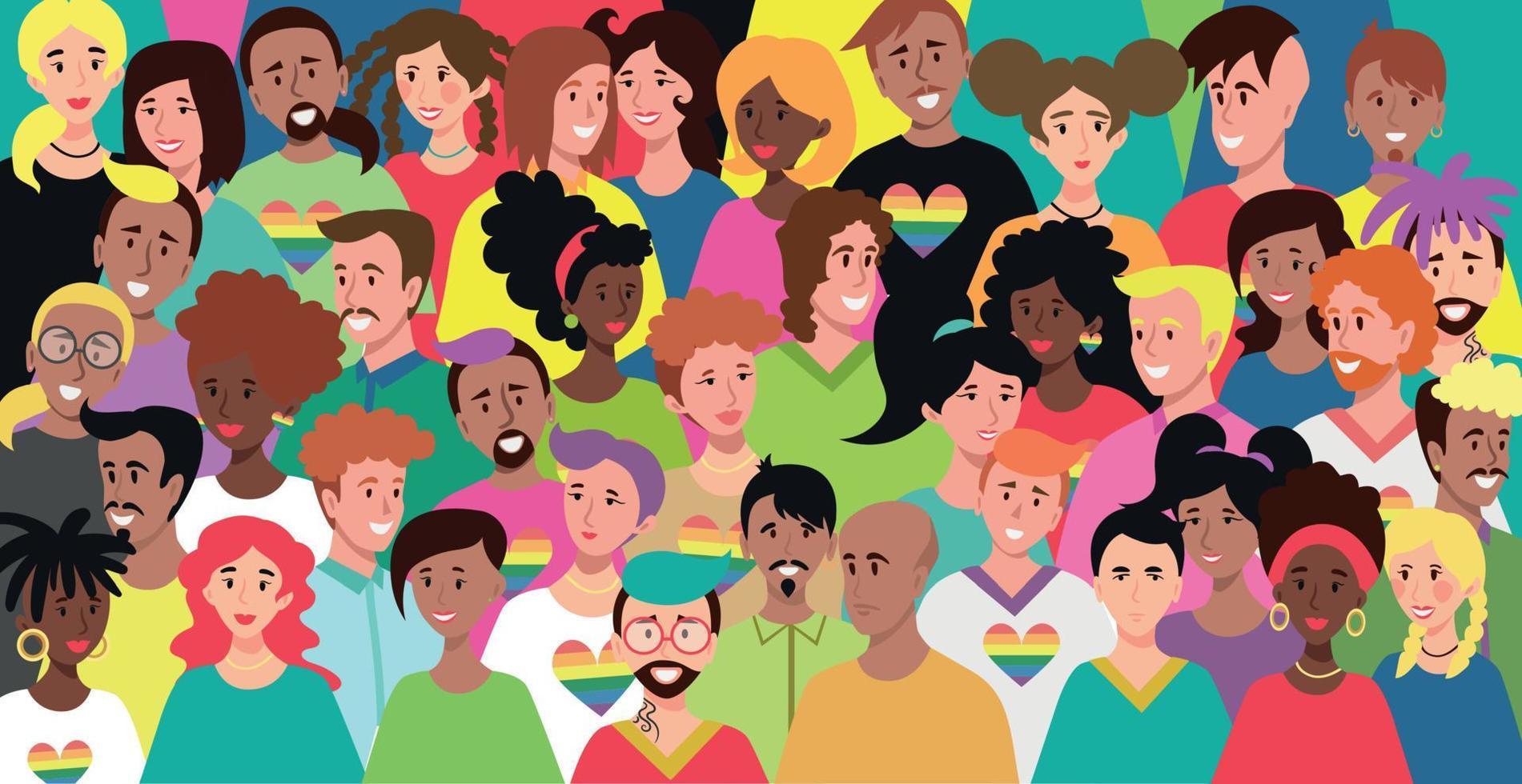 homens e mulheres jovens com cores de pele diferentes - vetor