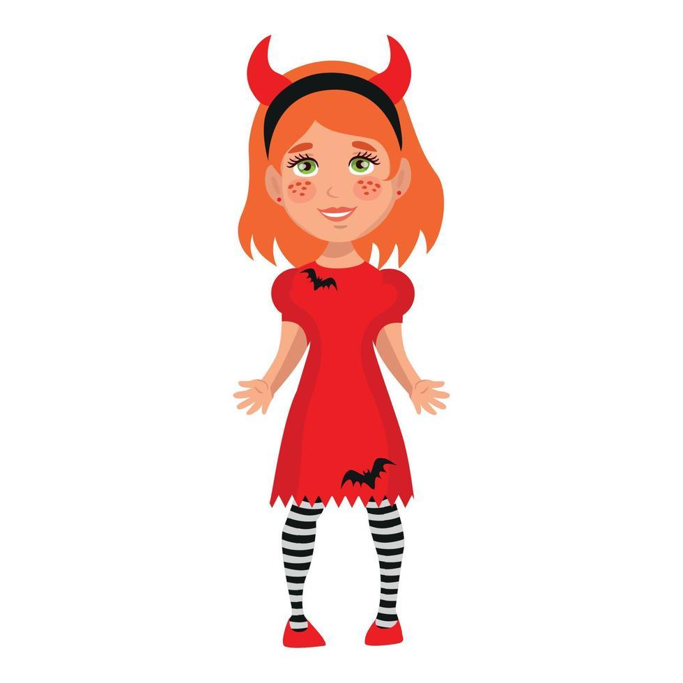 garota vestida com uma fantasia festiva de halloween - vetor
