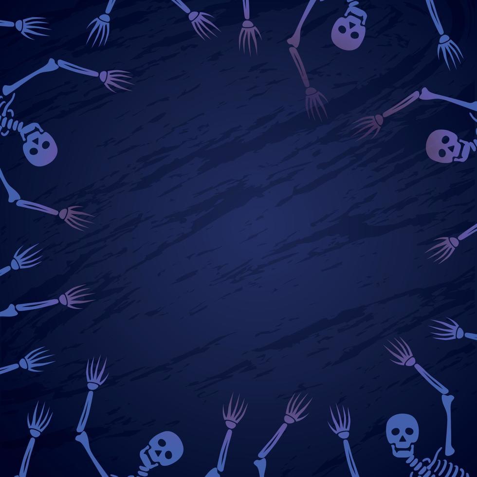 conjunto de esqueletos contra um fundo escuro halloween - vetor