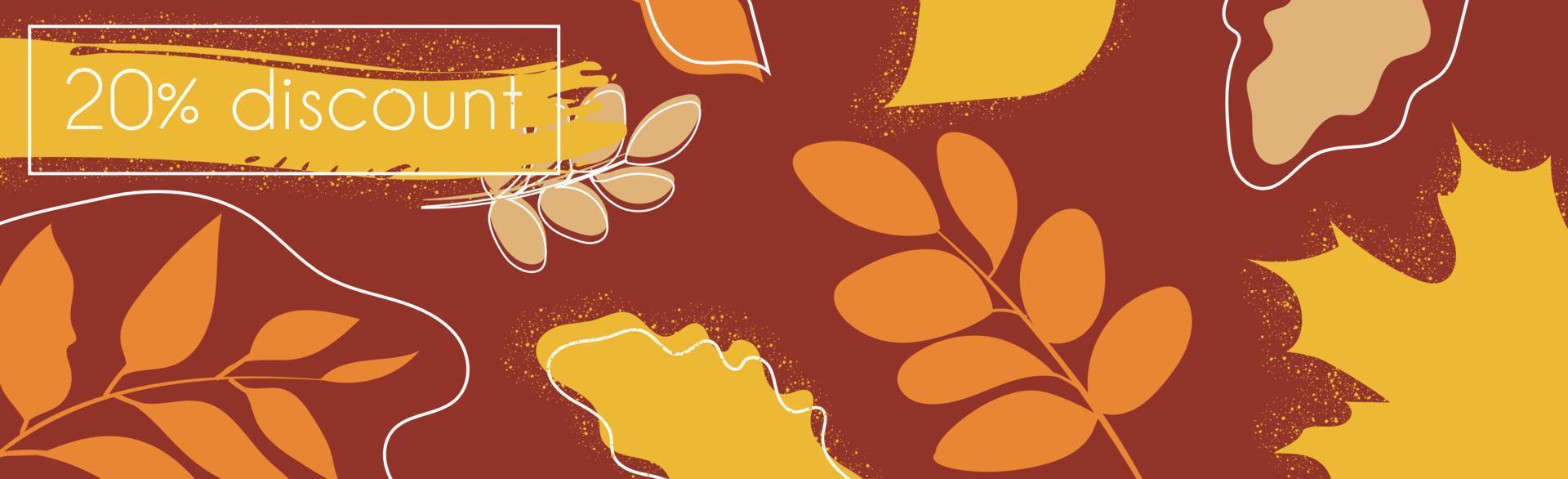 20 por cento de grandes descontos de outono, banner de anúncio da web - vetor