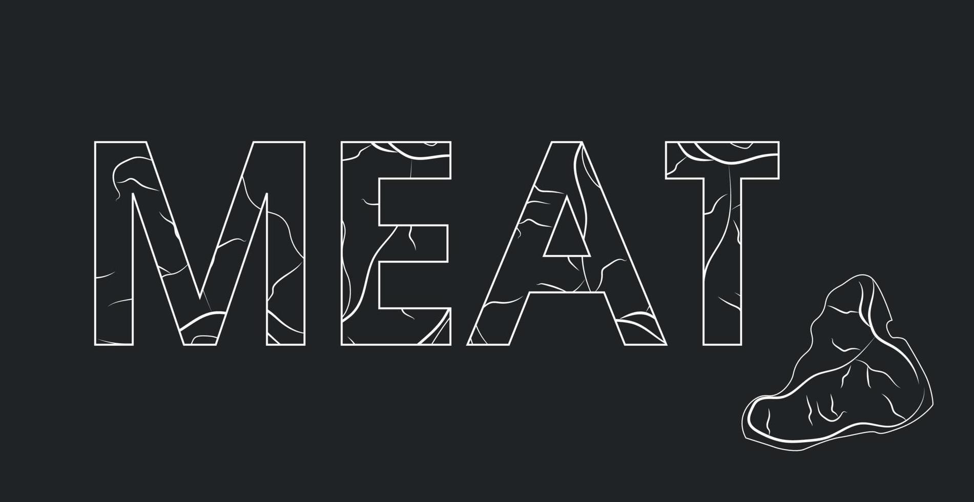 a palavra logotipo da carne, estilizada como um pedaço de carne - vetor