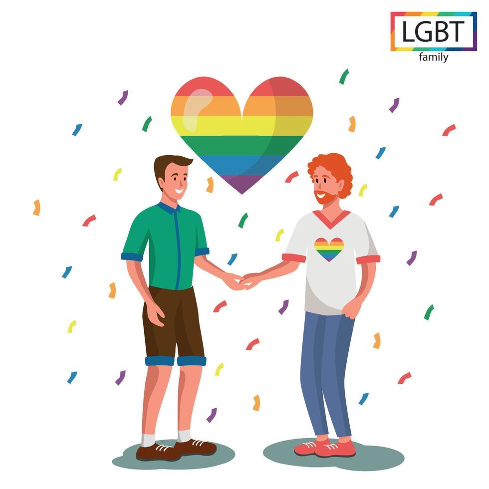 família LGBT - dois homens se dão as mãos - vetor