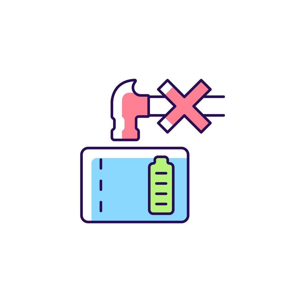 não esmague o ícone do rótulo manual de cores rgb powerbank vetor