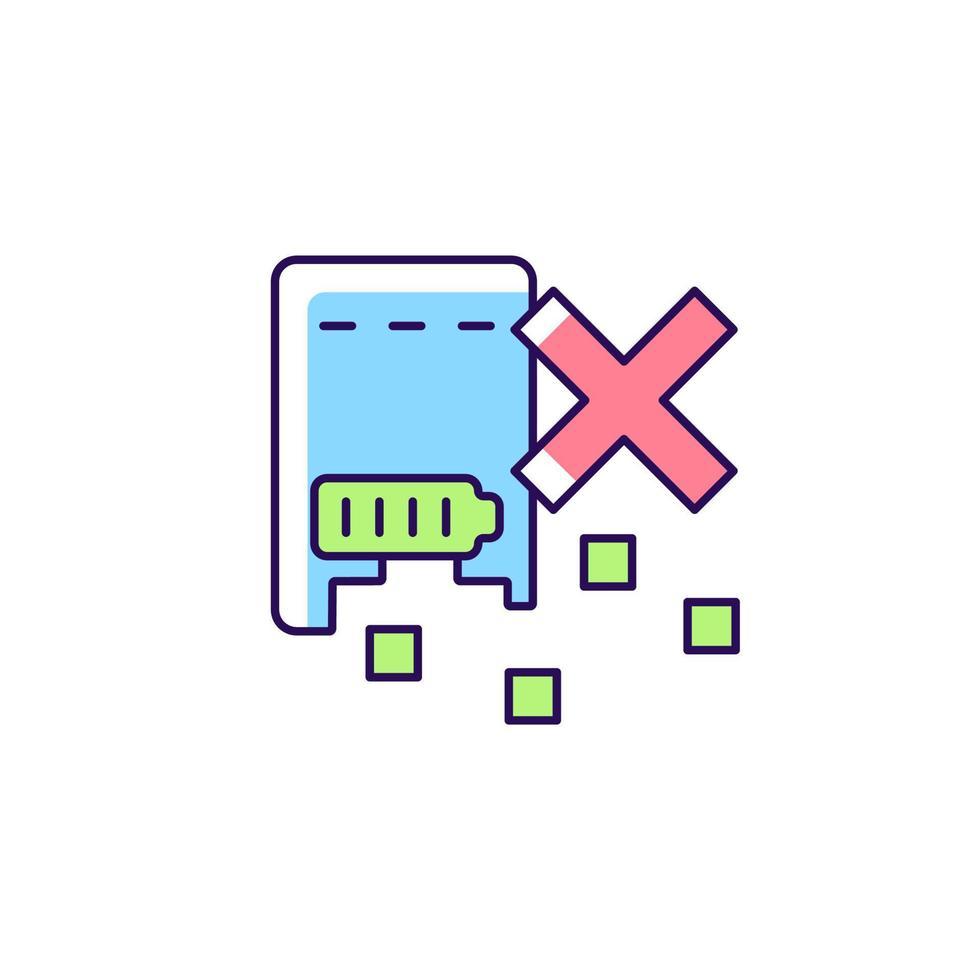 não destrua o ícone do rótulo do manual colorido do powerbank rgb vetor