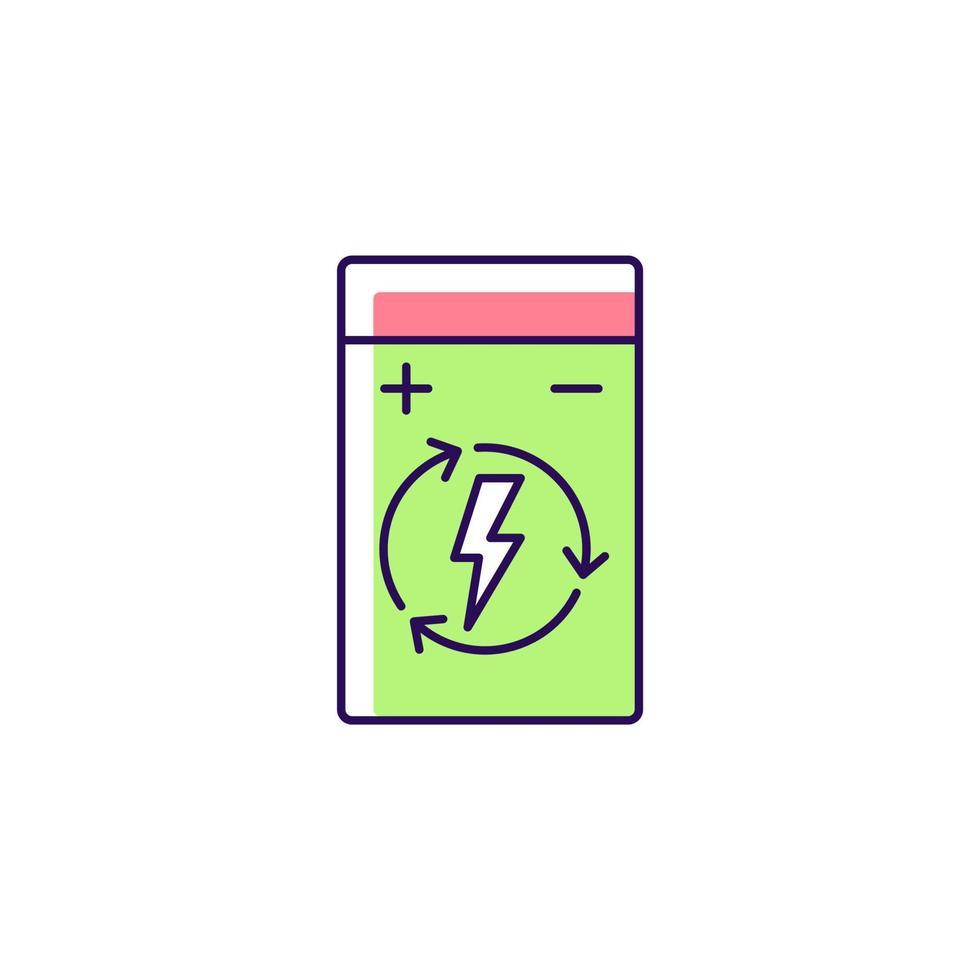 ícone de rótulo manual colorido de bateria recarregável de polímero de lítio rgb vetor