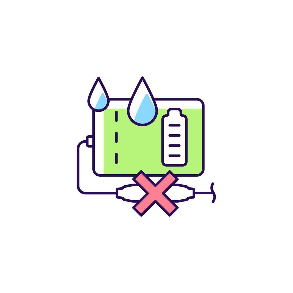 desligue o banco de energia se o ícone do rótulo do manual de cor rgb estiver molhado vetor