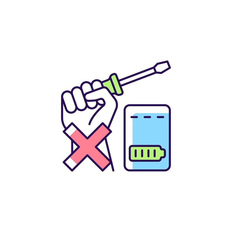 não repare o banco de energia sozinho ícone do rótulo do manual de cor rgb vetor