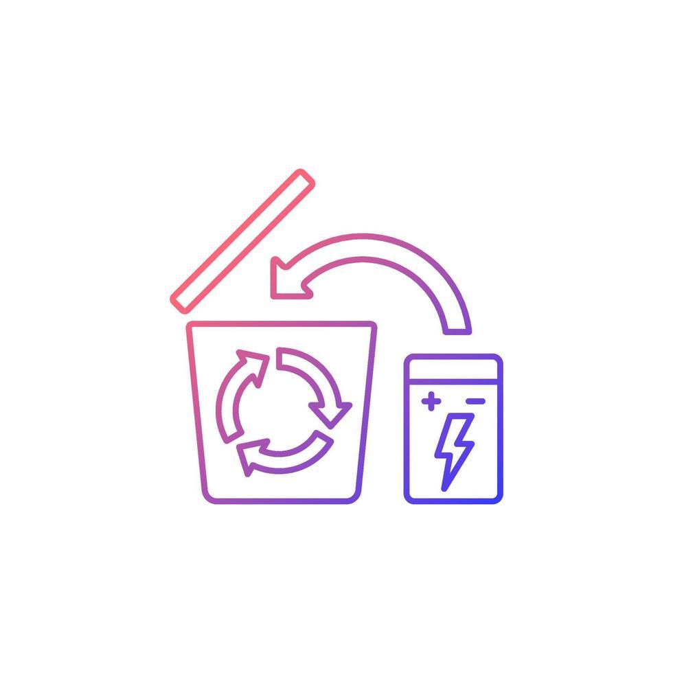 ícone de rótulo manual de vetor linear gradiente de reciclagem de bateria