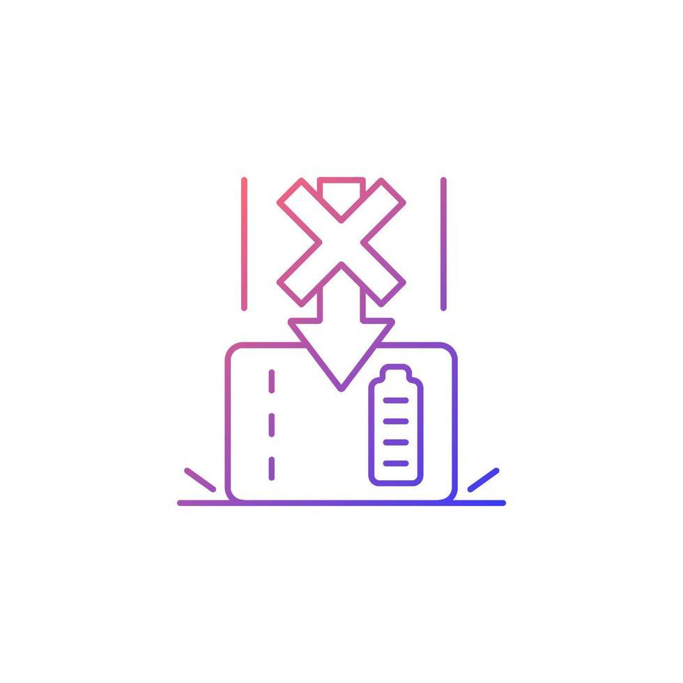 não deixe cair powerbank gradiente linear vetor ícone de rótulo manual